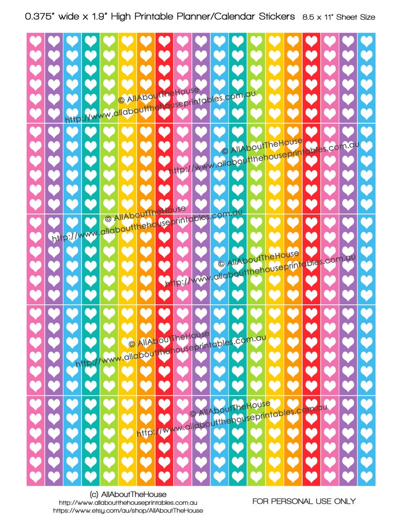 Checklist Heart Printable Planner Stickers 1.9L x image 0