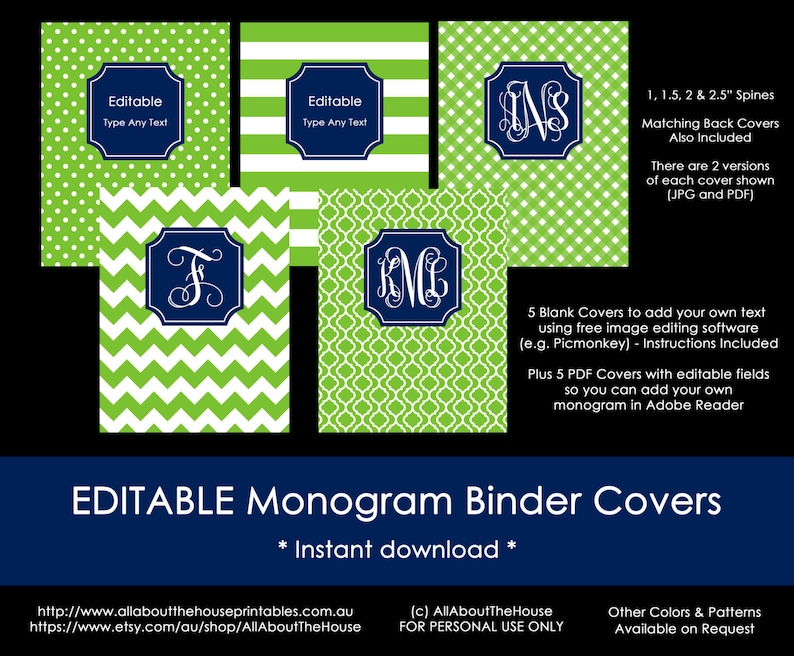 photo regarding Free Printable Monogram Binder Cover known as Editable Printable Monogram Binder Deal with and backbone chevron polka dot stripe gingham Do it yourself Laptop computer Stationery Preppy college or university university army inexperienced
