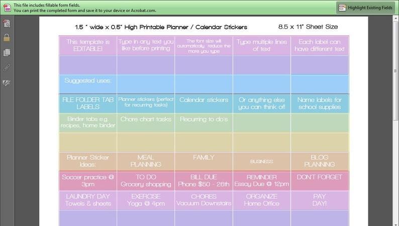 Printable Calendar /  Planner Stickers Blank EDITABLE image 0