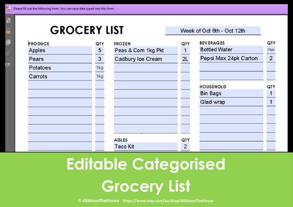 printable grocery list editable categorised shopping etsy