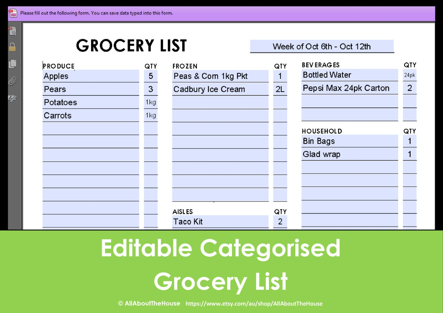 printable grocery list editable categorised shopping | etsy