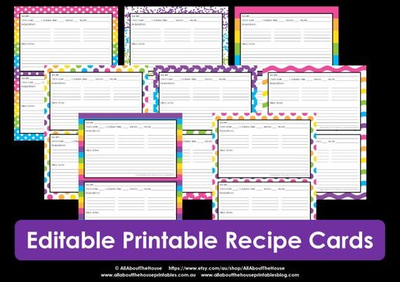 Printable recipe card, EDITABLE, Template, pdf, sheet, recipe page, Recipe  Organisation, Recipe Box, cookbook, cooking printable, kitchen