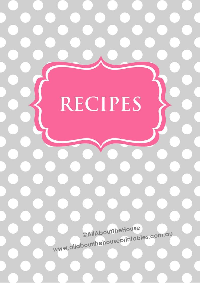 Recipe Binder Printables Recipe Sheet polka dots Recipe Card image 0