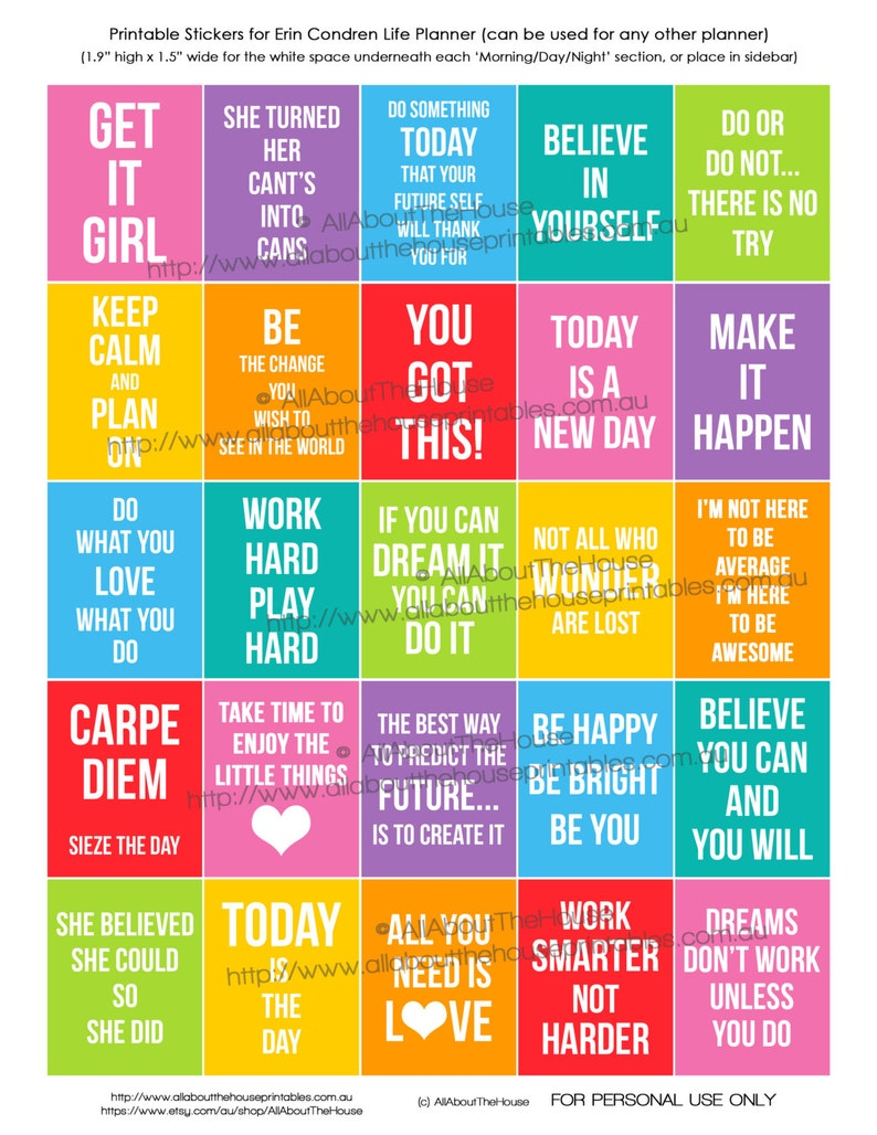 Motivational Quote Planner Stickers Printable Inspiration Full image 0