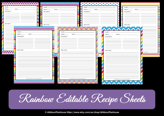 editable printable chevron recipe template recipe card etsy