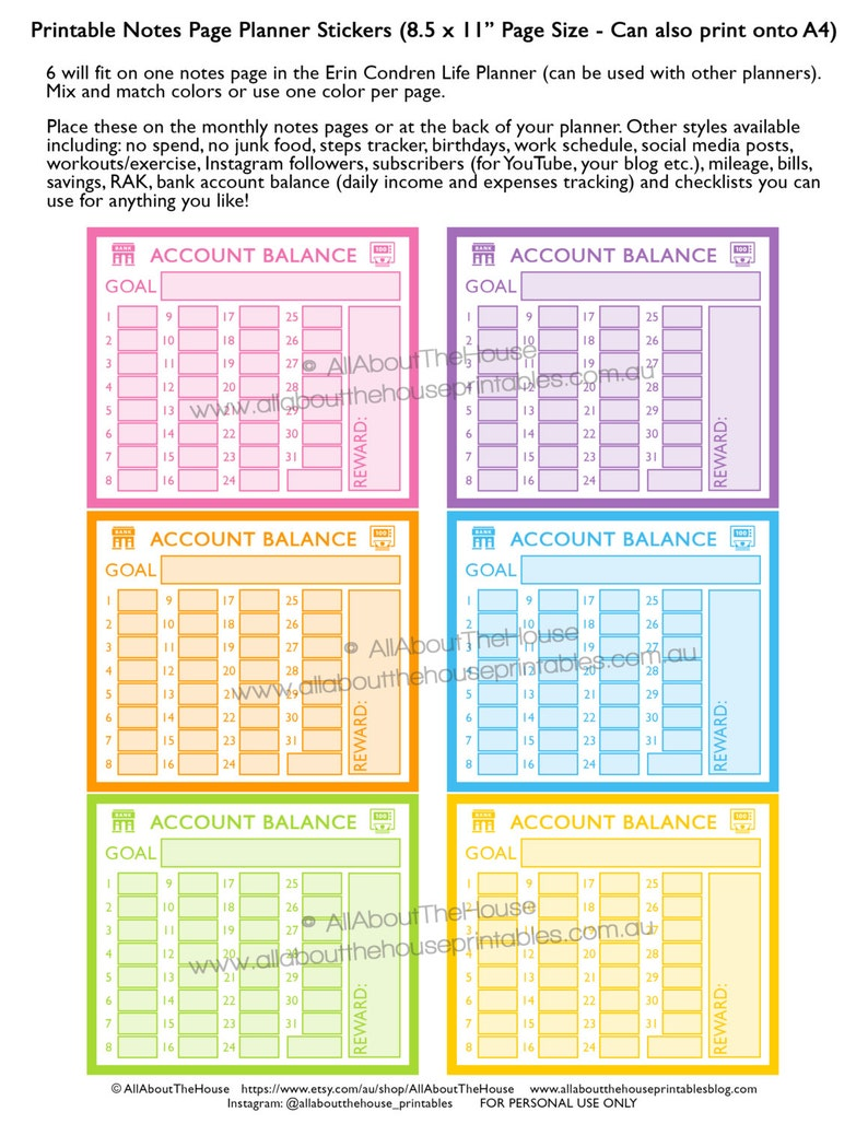 Banking planner stickers notes page Printable account spending image 0