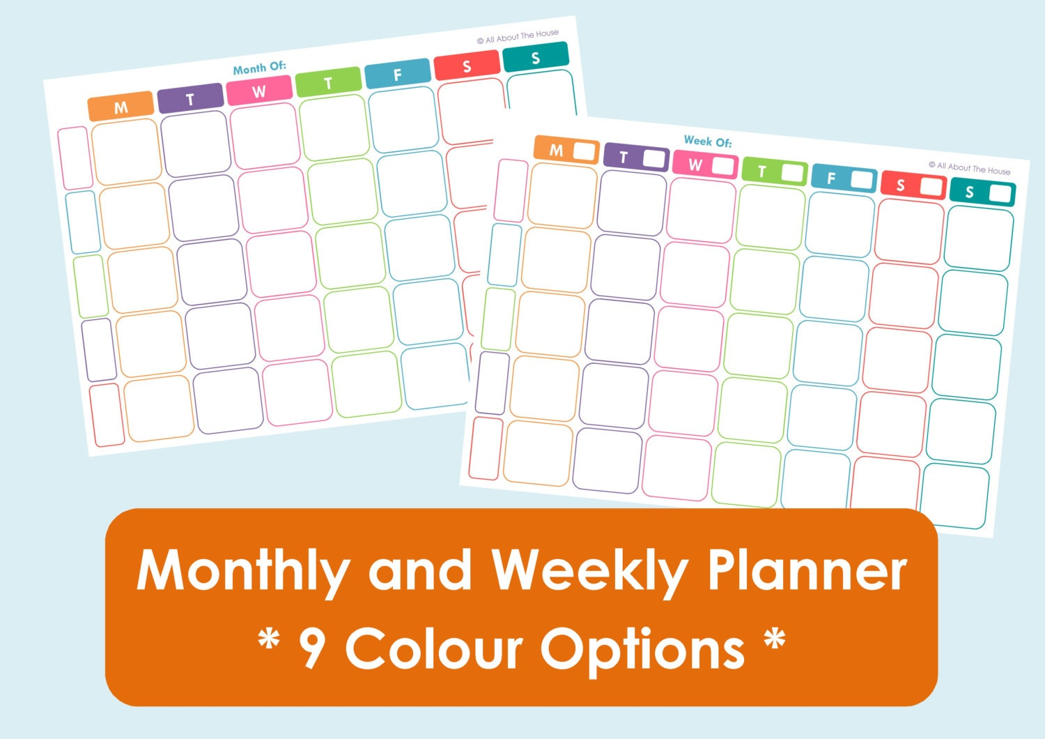 Printable Weekly Family Planner and Monthly Calendar - 9 Colours Available  - Product Number 407