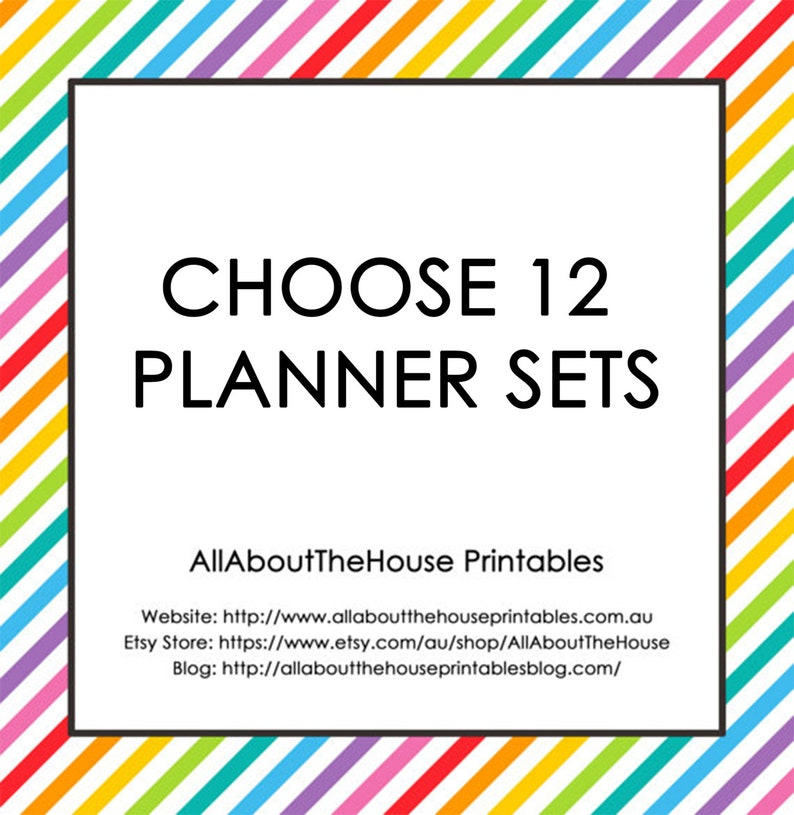 Choose 12 Planner Printable Sets  Create Your Own Planner image 0