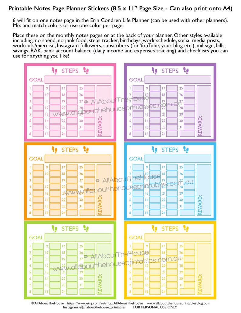 Steps planner stickers notes page Printable exercise health image 0