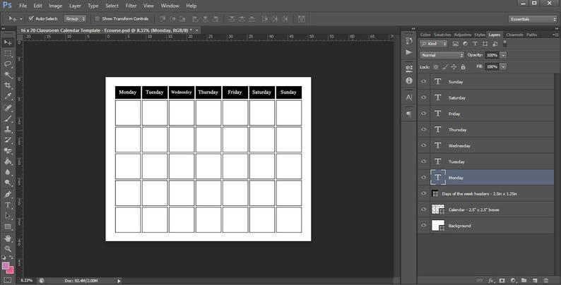 Calendar template photoshop printable poster size 20