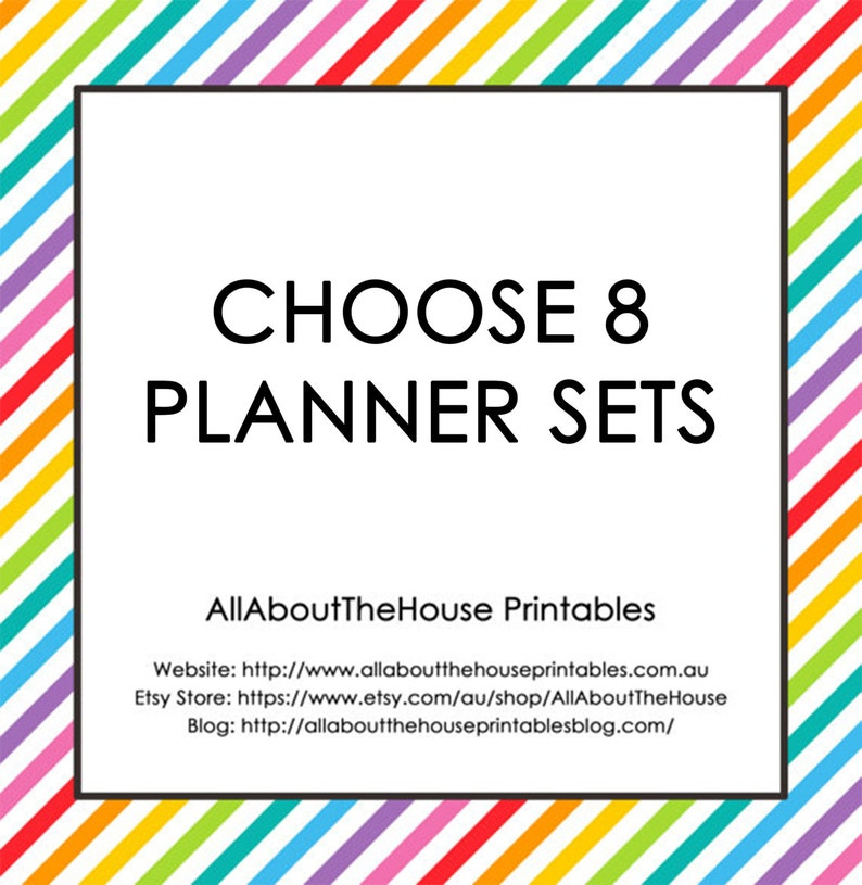 Choose 8 Planner Printable Sets  Create Your Own Planner image 0