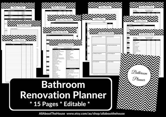 bathroom remodel checklist planner printable renovation home etsy