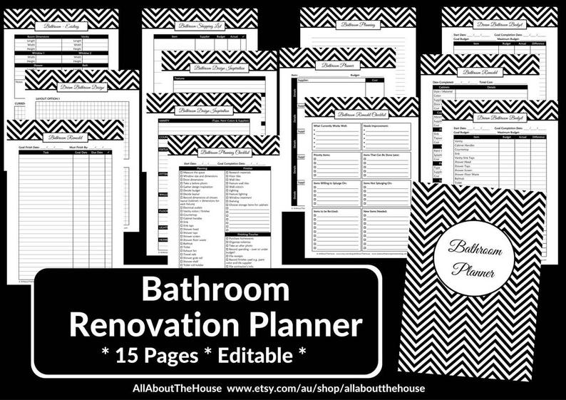 Bathroom remodel checklist planner printable renovation home image 0