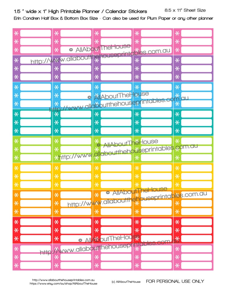 Asterisk Planner Stickers Half Box printable list stickers image 0