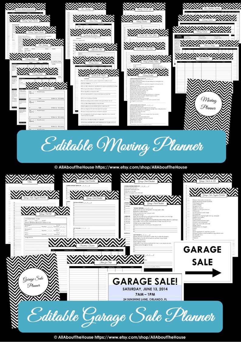 EDITABLE Moving Planner Garage Sale Checklist Binder Printable image 0