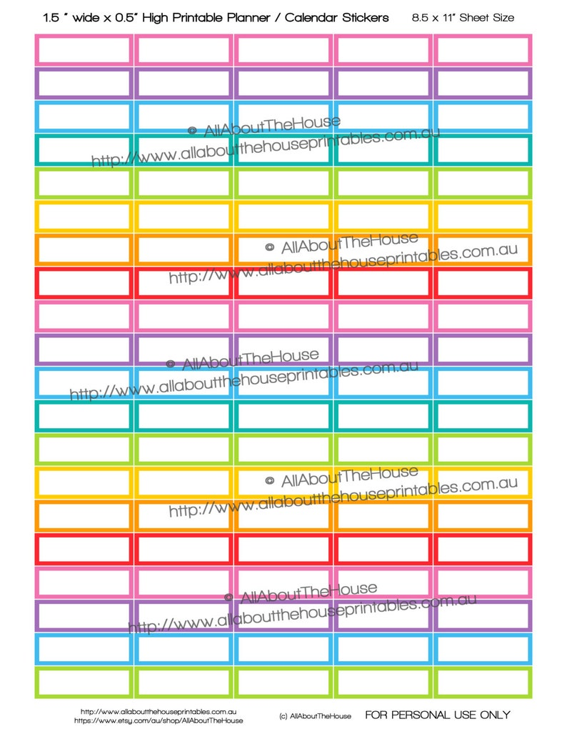 Printable Planner Stickers Blank Organization Rainbow made for image 0