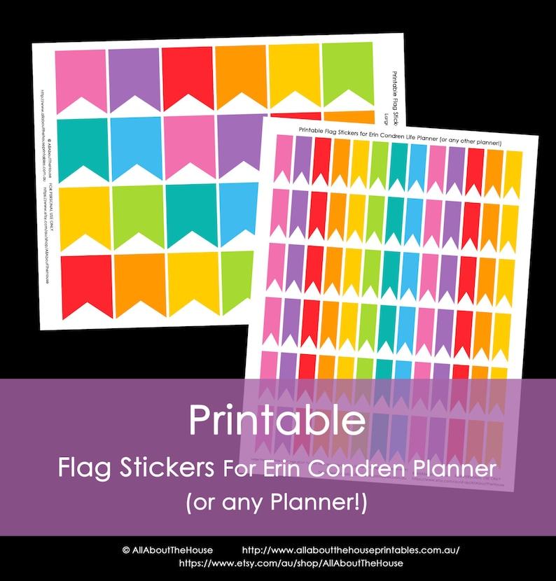 Printable Calendar / Planner Stickers Flags for Erin Condren image 0