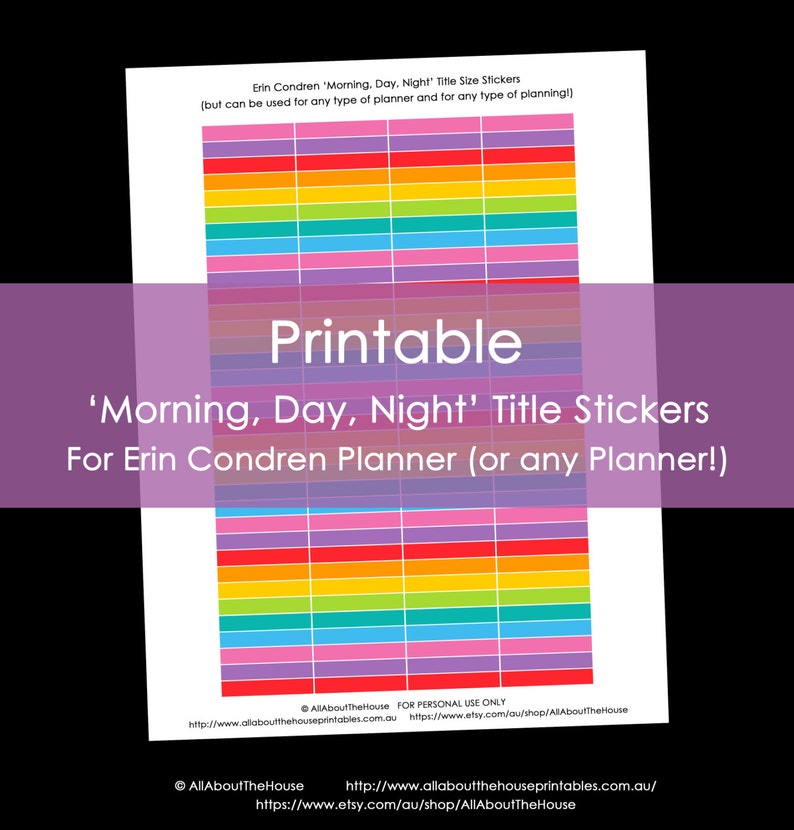 Printable Planner Stickers erin condren Morning Day Night image 0