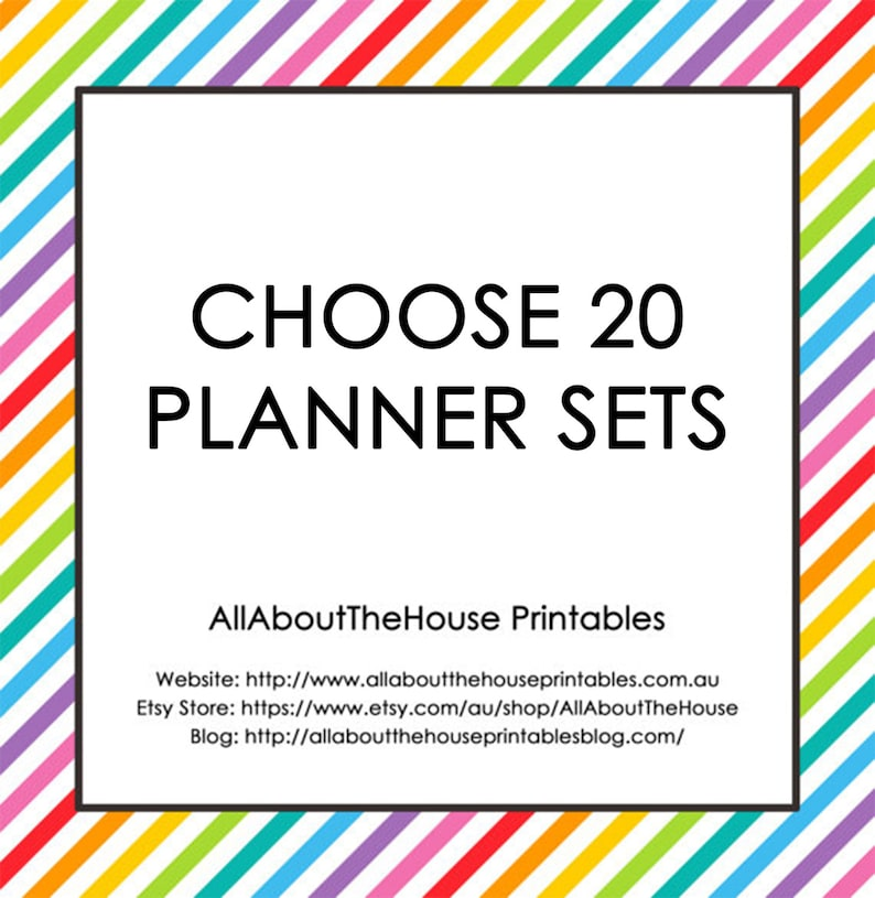 Choose 20 Planner Printable Sets  Create Your Own Planner image 0