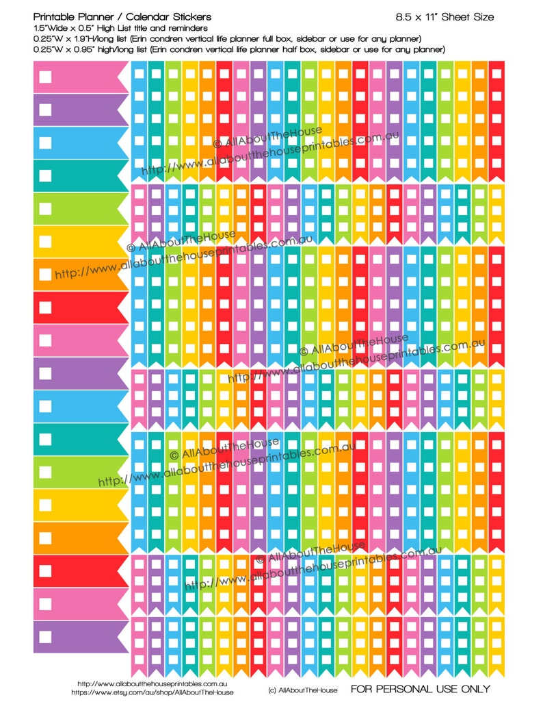 Checkbox List Flag Planner Stickers to do Printable tasks image 0