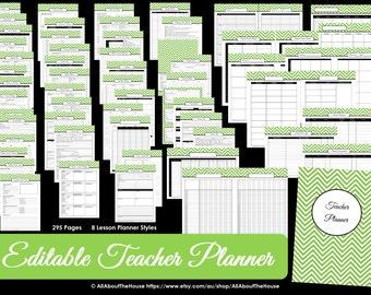 GREY EDITABLE Teacher Planner  Printable School Homeschool Lesson Planner Class Organization 2017 2018 Teaching Homework Calendar Diary