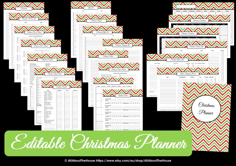 EDITABLE Christmas Planner  Chevron  Pdf  INSTANT DOWNLOAD image 0