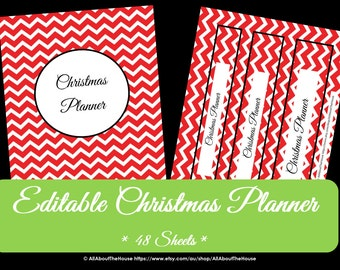 EDITABLE Christmas Planner - Chevron - Pdf - INSTANT DOWNLOAD - Home Organisation - Gift List - To Do Checklist - Calendar - Party Planner