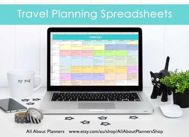 Travel Planning excel spreadsheets itinerary month week budget image 0