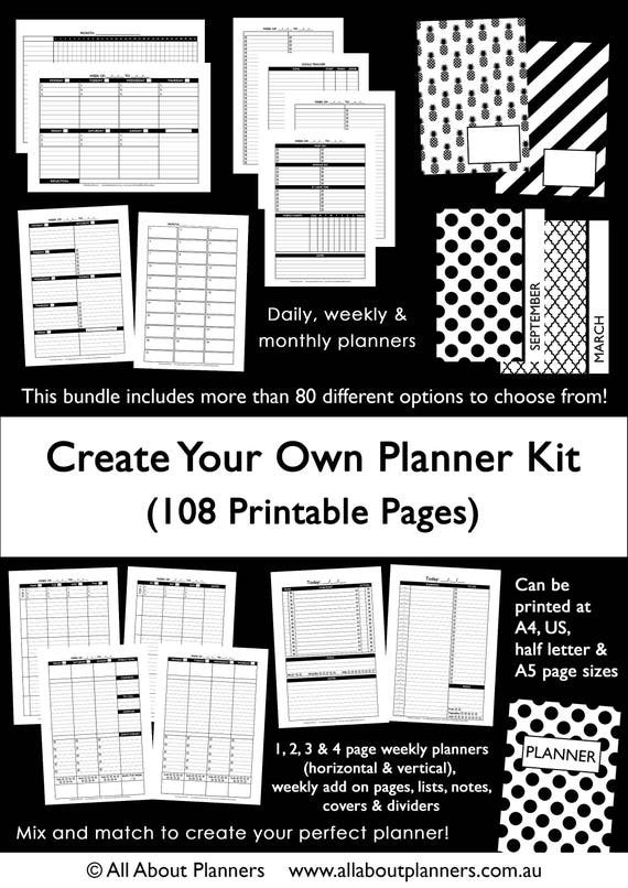 Amazing Custom Planner Kit Printable Build Your Own Weekly Daily | Etsy Awesome Ideas