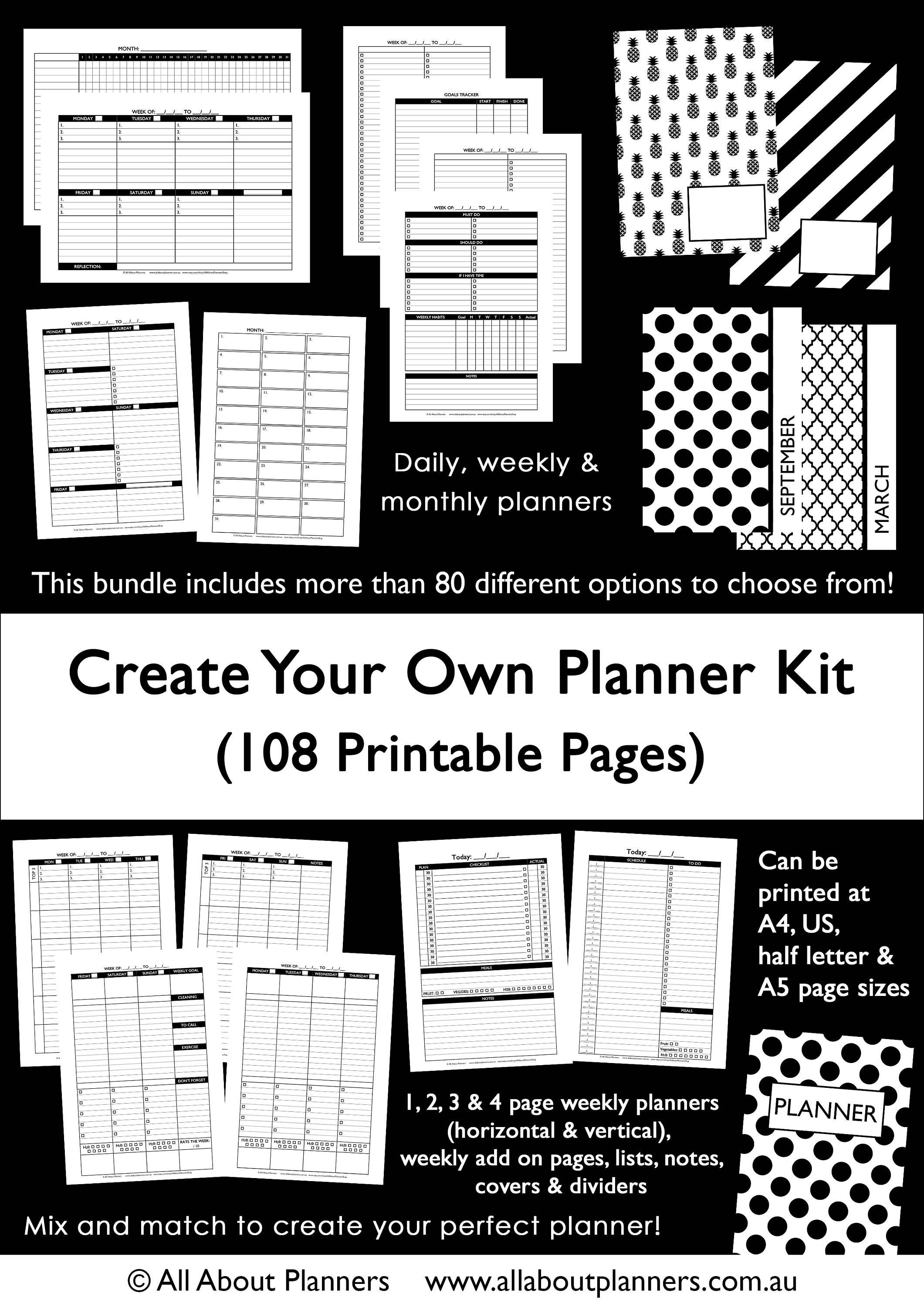 Custom Planner Kit Printable Build Your Own Weekly Daily