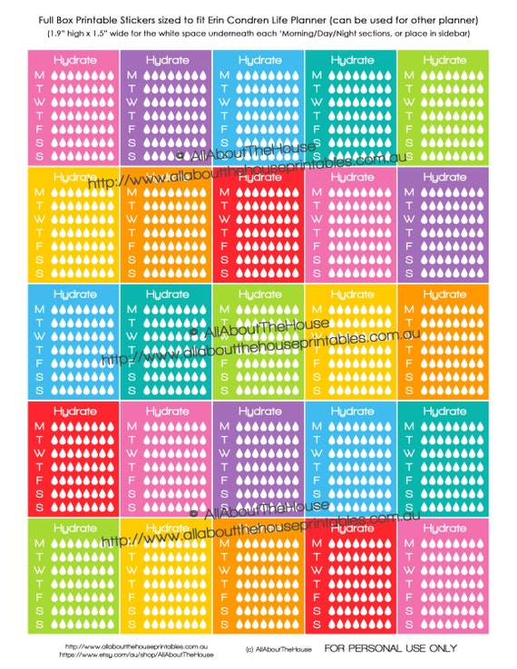 graphic relating to Printable Calendar Stickers identify Hydrate Planner Stickers Day-to-day Weekly Printable Calendar