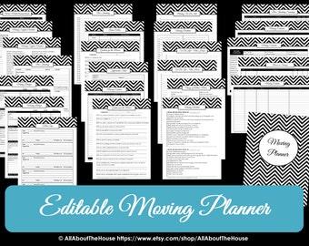 Home planner pdf etsy pink editable moving planner checklist binder printable chevron organize home binder cover box label divider door hanger template list pdf maxwellsz
