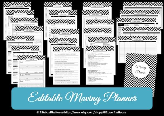 green editable moving planner checklist binder printable etsy