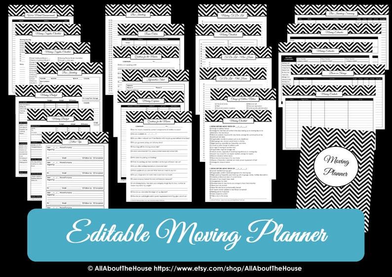 GREEN EDITABLE Moving Planner Checklist Binder Printable image 0