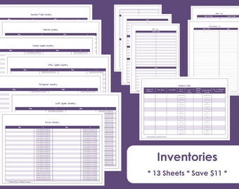 Home Inventory Printables - Home Organisation - Household Binder - 13 sheets - Value Pack