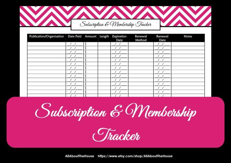 Subscription & Membership Tracker Printable  Organising image 0