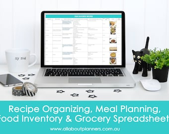Meal planning excel spreadsheets grocery list food inventory favorite recipes menu plan monthly family google docs home planner
