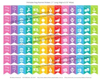 "Payday Planner Stickers Flag Banner Printable Calendar Agenda Organization 1"" H x 0.75"" wide Erin Condren, Plum Paper or other planner -F003"