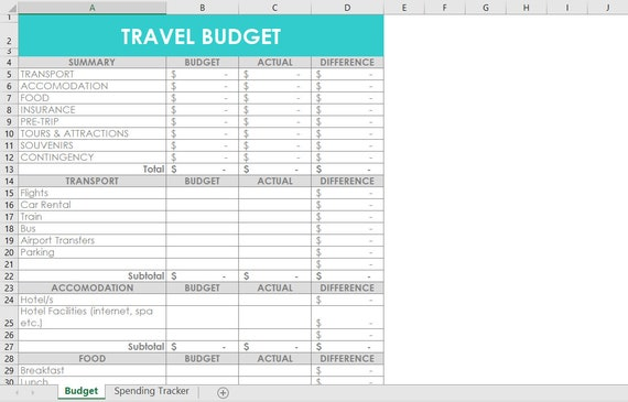 Travel Budget Excel Spreadsheets Template Customisable Etsy