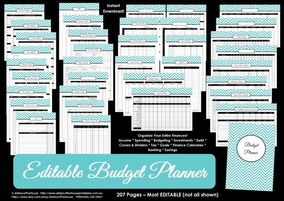 budget planner light blue editable printable household binder etsy