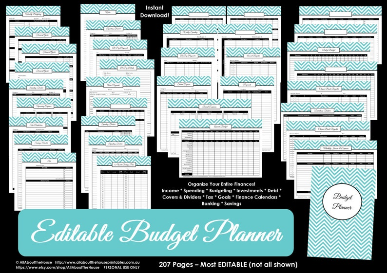 Budget planner LIGHT BLUE EDITABLE printable Household Binder image 0