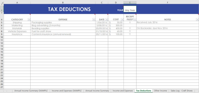 Etsy Seller Spreadsheets shop management Tool financial tax image 0