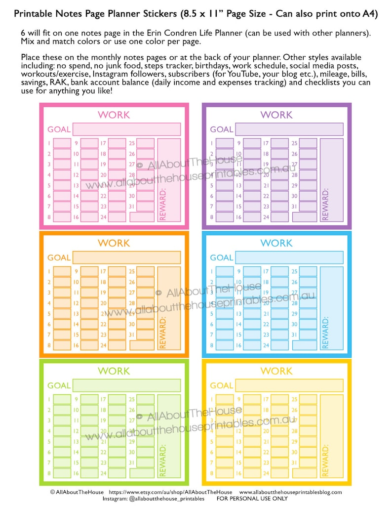 Work planner stickers notes page Printable instagram follower image 0