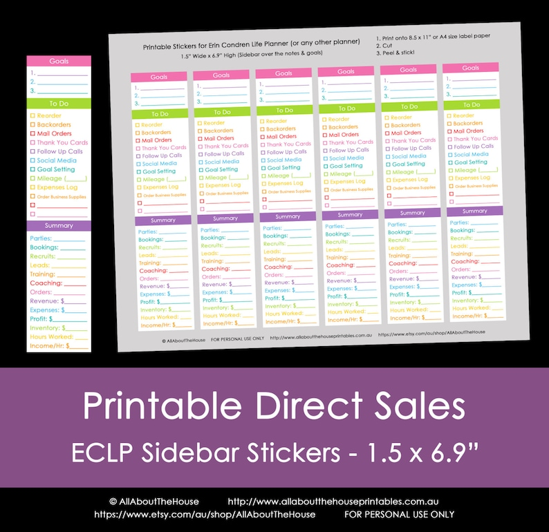 Direct Sales Planner Stickers  Weekly or Monthly checklist image 0
