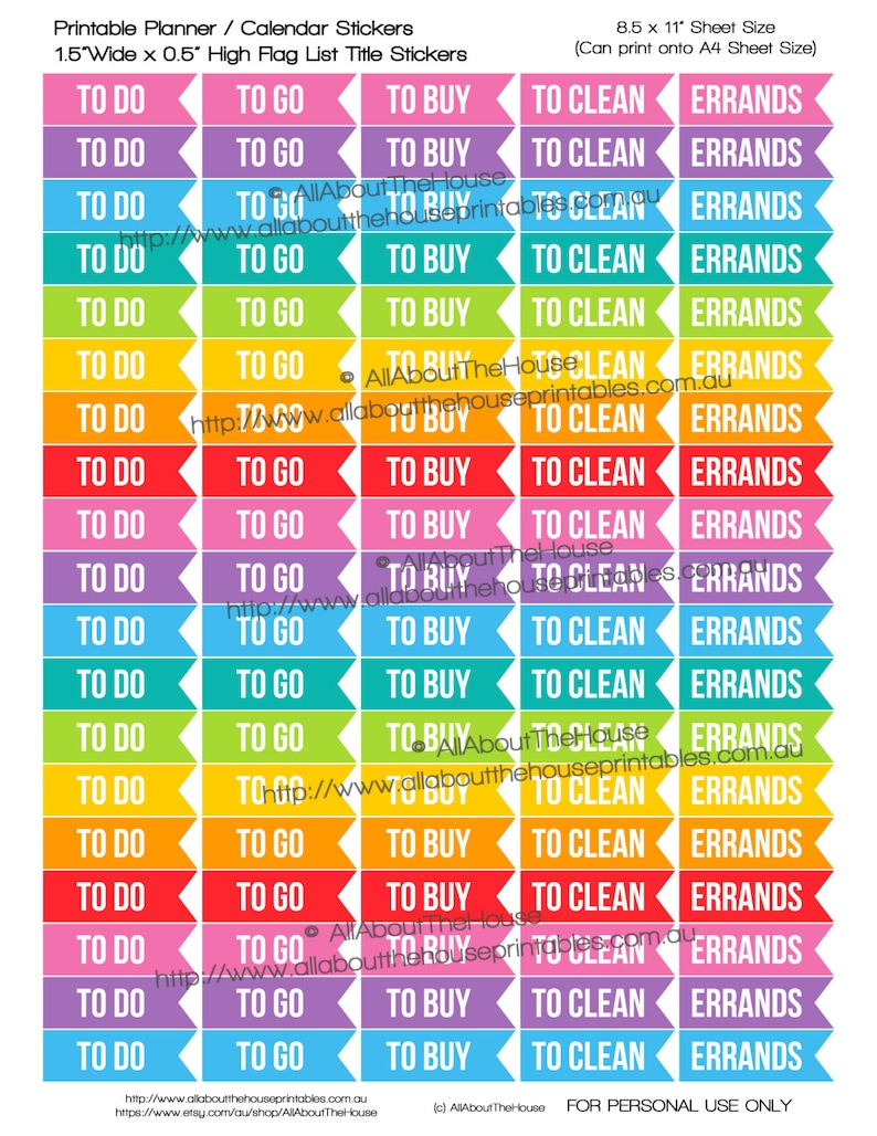 To Do To Buy To Go To Clean Errands Flag Printable Planner image 0