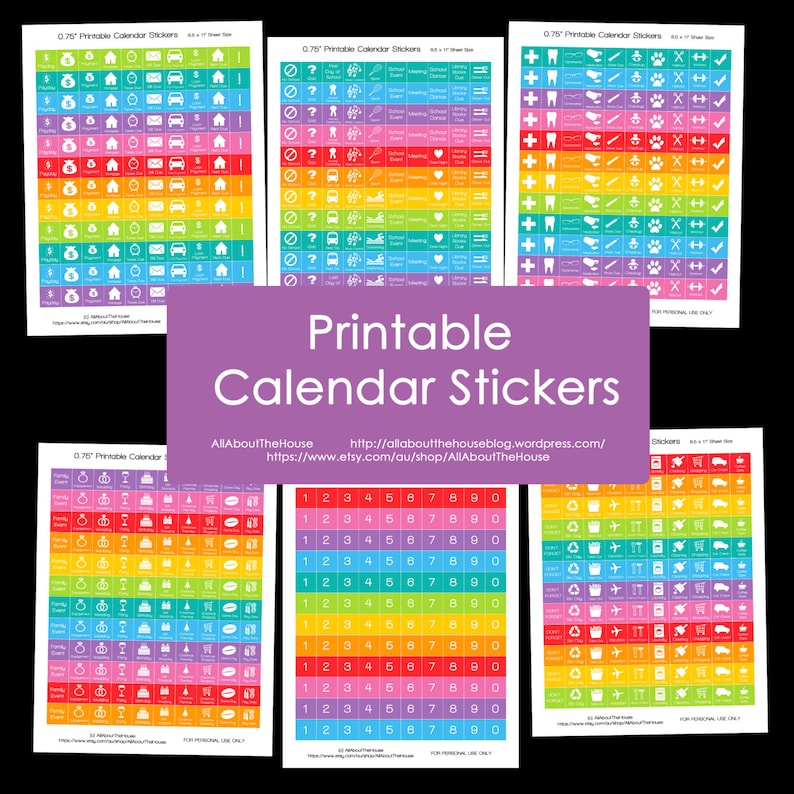 Calendar Stickers Printable  Daily Planner Rainbow Add On  image 0