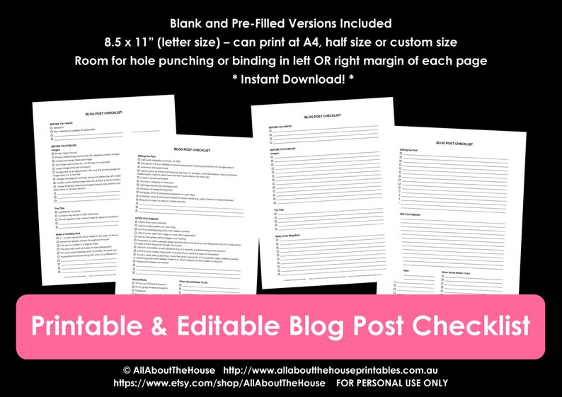 Blog post checklist printable planner page before and after image 0