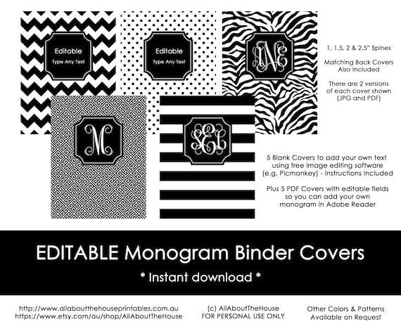 picture regarding Free Printable Binder Covers and Spines identified as Editable Printable Monogram Binder Deal with and backbone chevron