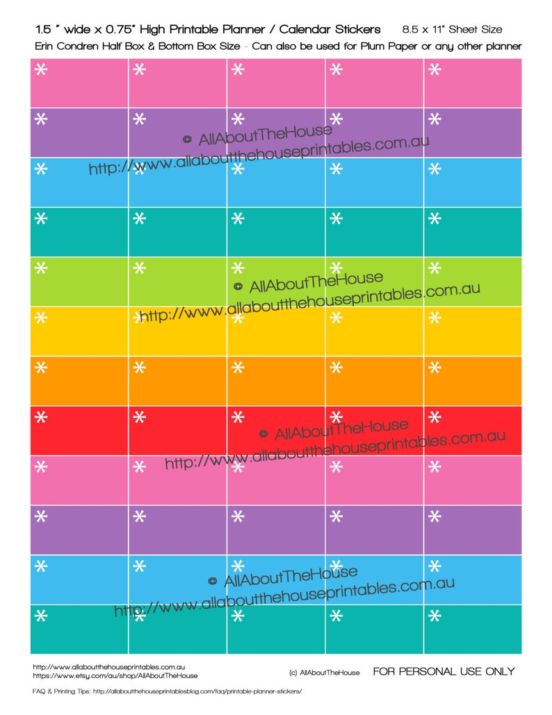 Asterisk Planner Stickers reminder to do priority printable image 0