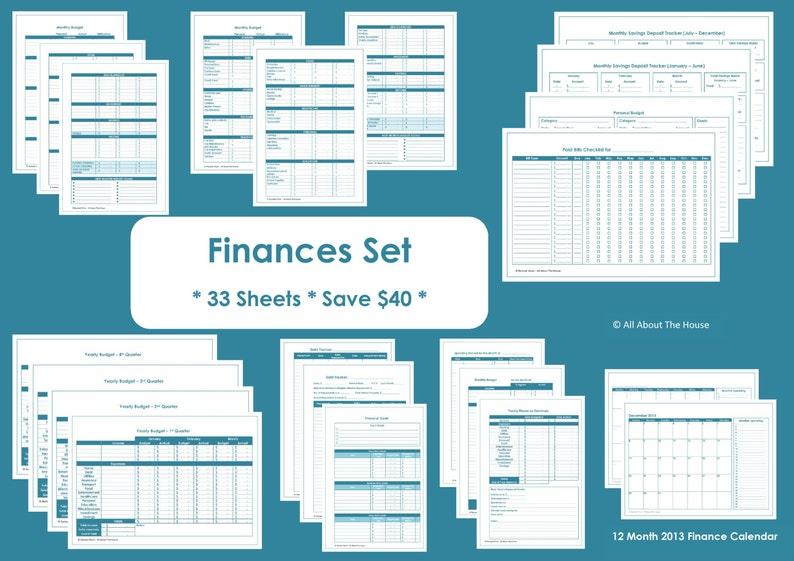 Finance Organisation Printables  Household Binder  33 sheets image 0